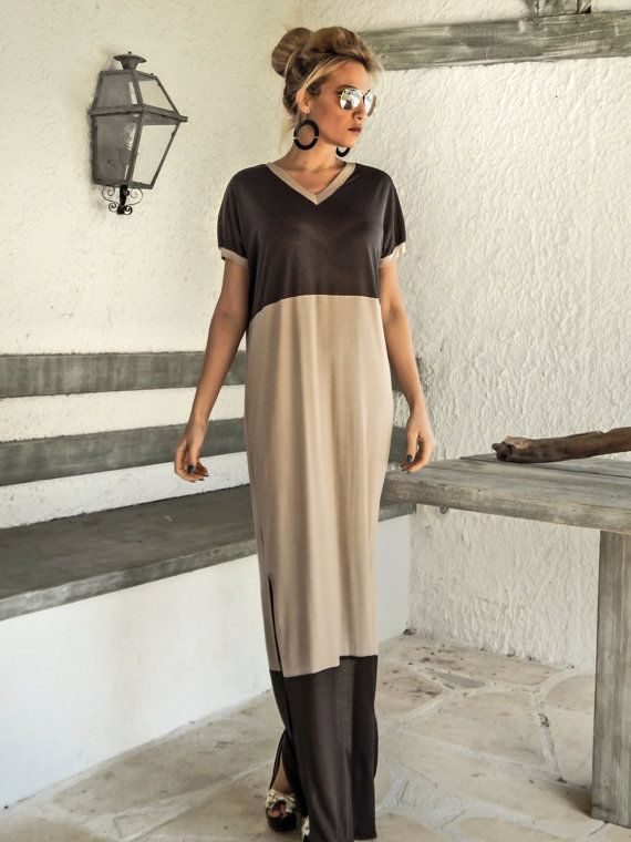 Gray  Beige Maxi Dress / Gray  Beige Kaftan / by SynthiaCouture
