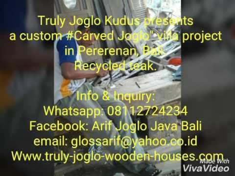 """Meet one of the tallest carved """"joglo"""" ever. Columns 25cm X 25cm X 600cm. Made of recycled teak.  Beautifully carved manually. Complete the villa in Canggu, Bali with other works of Javanese wooden house (Rumah Geladak), Carved Panels & Doors (Gebyok & Pintu Ukir)"""