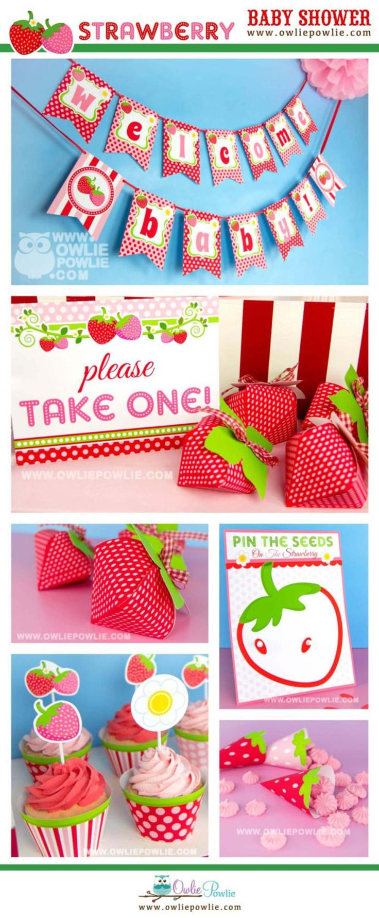 Strawberry BABY Shower Party Printable Package & Invitation, girl baby shower decorations, strawberry party decor, berry baby shower invites – Baby Shower