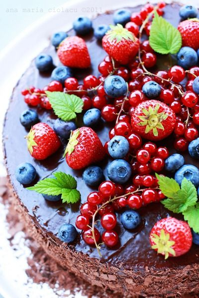 Triple chocolate cake with berries -- gorgeous!