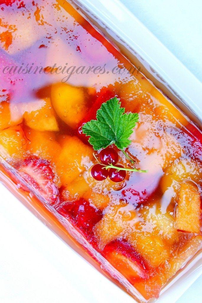 Terrine de Melon, Fraises et Pêches à la gelée de Pommes