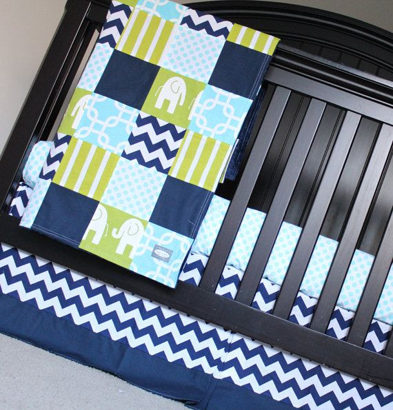 custom crib bedding navy blue lime green aqua by