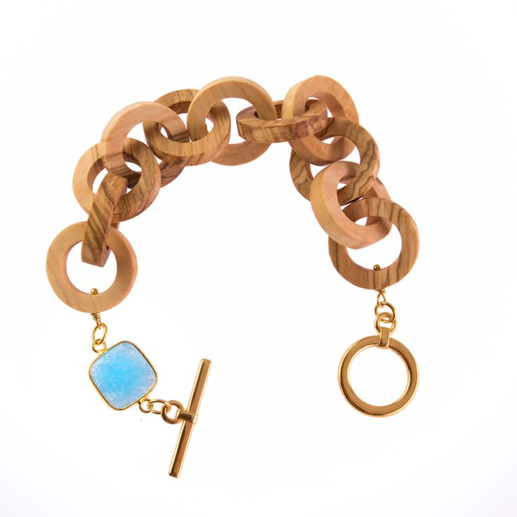 Olive Wood Handcrafted Bracelet with Blue stone !!