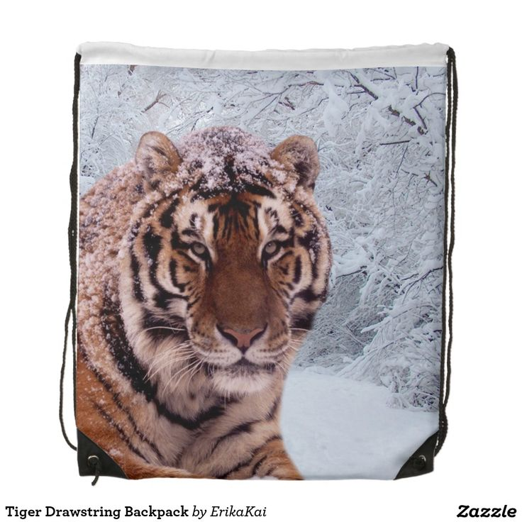 """Tiger and Snow Drawstring Backpack. 100% polyester. Dimensions: 14.75"""" x 17.3""""."""