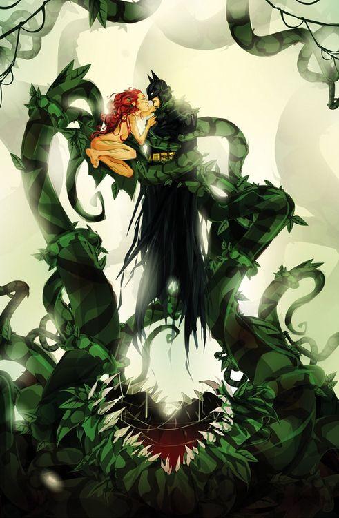 Tangled in Ivy's Web: Poison Ivy, Kiss, The Batman, Bats, Comic Books, Dc Comic, Comicbook, Poisons Ivy Batman, Dark Knights