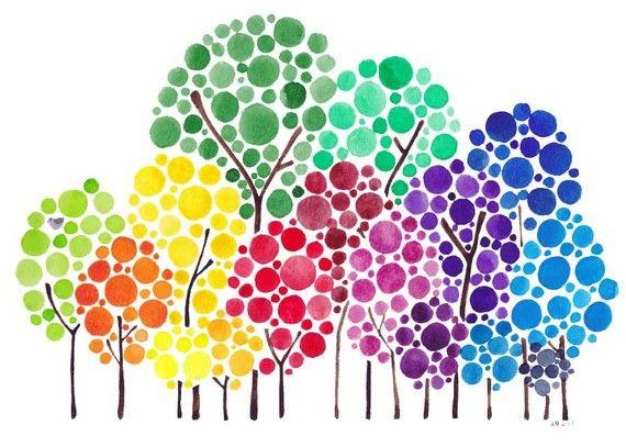 Arte de árbol personalizado acuarela familia bosque por jellybeans