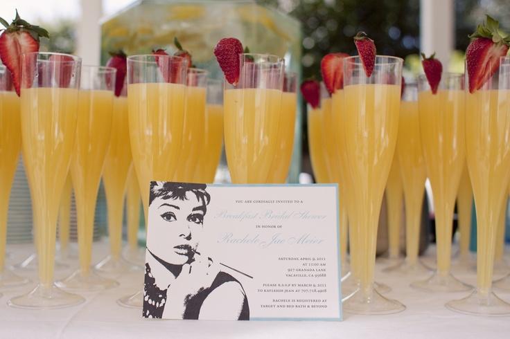 breakfast at tiffanys bridal shower brunch, mimosas