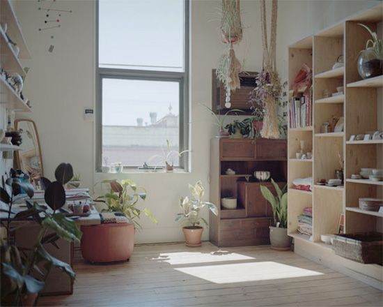 Plants, natural shelves, and sunlight :: open :: cozy :: warm :: work space :: office :: studio ::