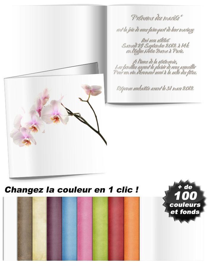 Orchidée blanche , faire-part de mariage sur thème de Nature et fleurs