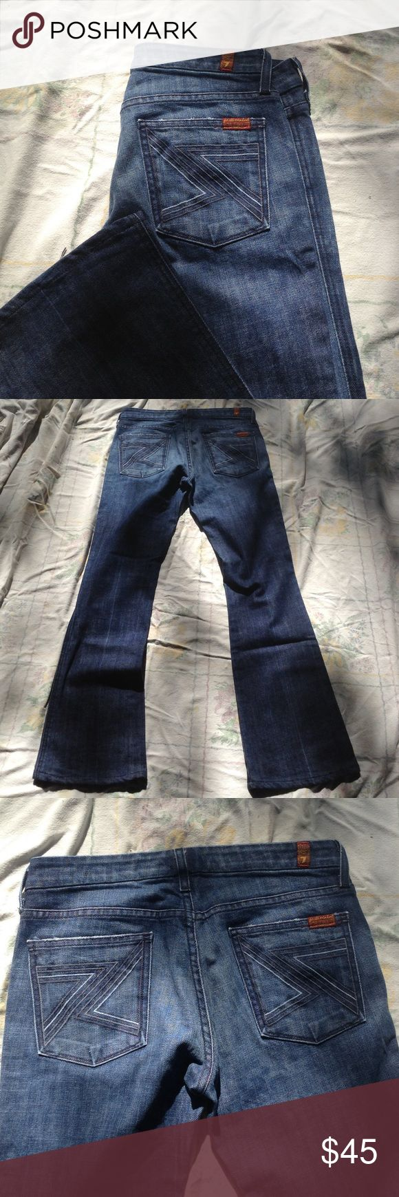 """7 for all Mankind Denim Flare Jeans Very sexy high quality 7 for all mankind jeans with embroidered back pocket details. American made, size 28, style is """"FLYNT"""". Style number U17MJ080U-055U. 🌻flat measurements🌻waist: 16"""" // hip: 18"""" // rise: 8"""" // inseam: 30"""" // 7 For All Mankind Jeans Flare & Wide Leg"""