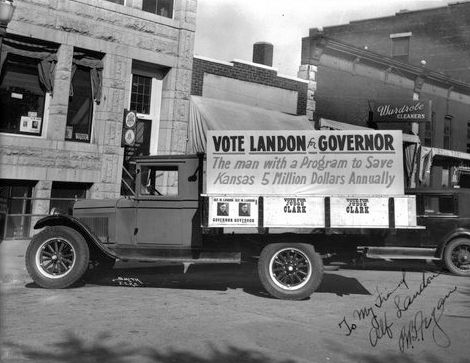 Alf Landon for Governor campaign truck in Junction City, Kansas, between 1932-1934  Lived in Junction City just not @ this time period... I wasn't even thought of then lol Kim C.