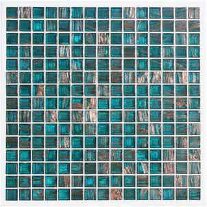 Aura Metallic Aventurine Glass Mosaic Tile in Tropic Teal @ 13.77 a sheet better for the budget
