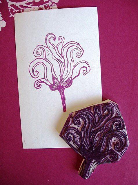 carved flower stamp + print