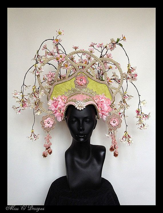 MADE TO ORDER  Asian Flower Headdress by MissGDesignsShop on Etsy, $425.00