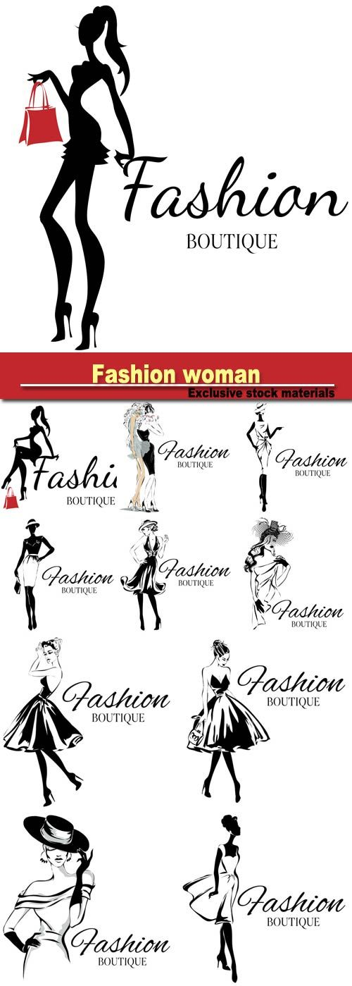 Fashion boutique logo with black and white woman silhouette, hand drawn vector…