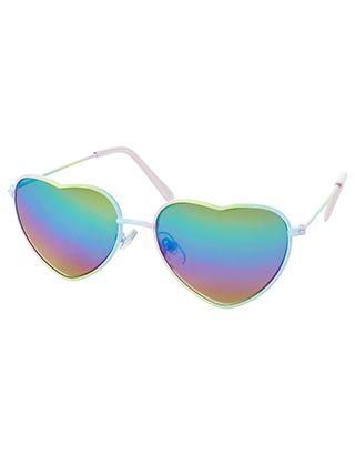 Ombre Metal Heart Aviator Sunglasses