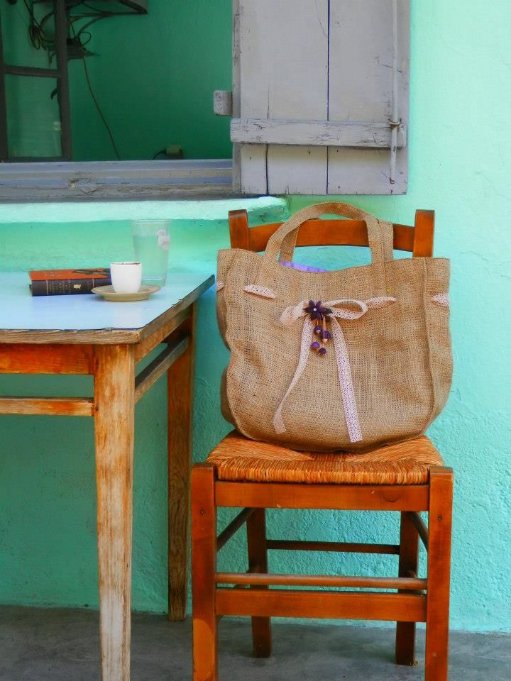 hand made bag from burlap and silkworm cocoon