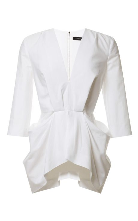 Shop V-Neck Gathered Waist Top by Thakoon Now Available on Moda Operandi