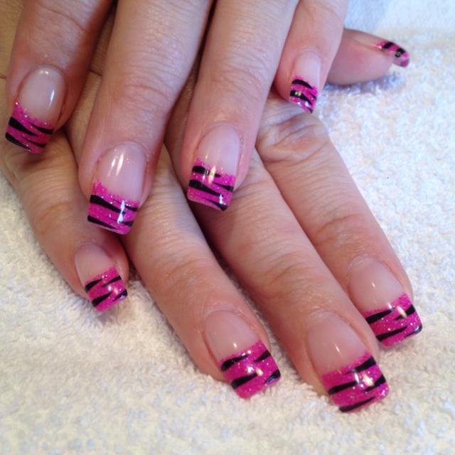 Zebra Nail Ideas: Pink Glitter & Zebra Gel Nails