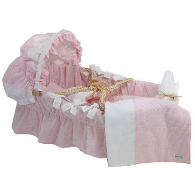 Wendy Anne Moses Basket With Seersucker Bedding And Canopy Color: