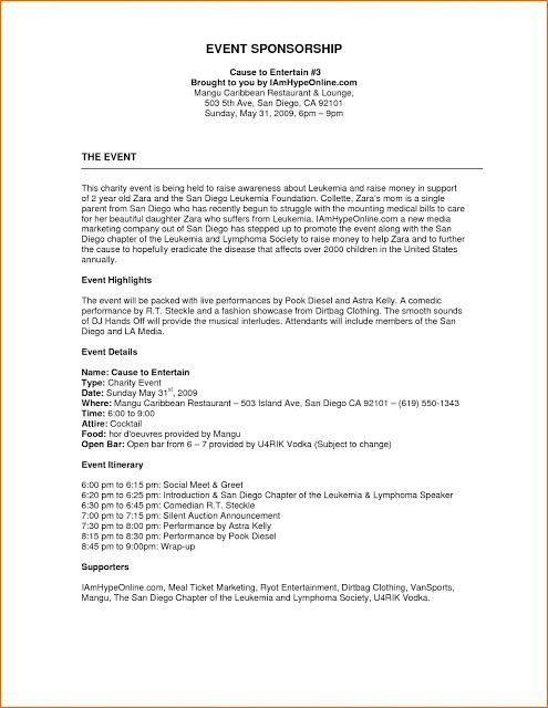 Event Proposal Format Example Template Templates