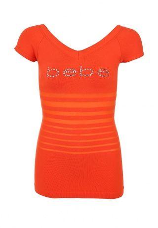 Футболка Bebe красно-оранжевого цвета. Модель выполнена из эластичного материала мягкого на ощупь. Детали: V-образный вырез, логотип бренда в виде переливающихся кристаллов. http://j.mp/1t0dqfk
