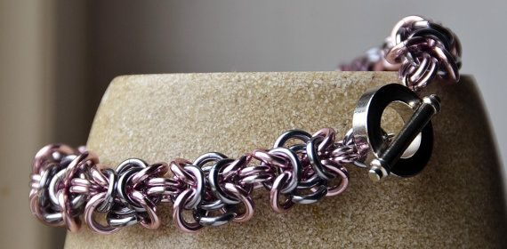 "Pink & Black Ice ""Orc"" weave Chainmaille Bracelet"