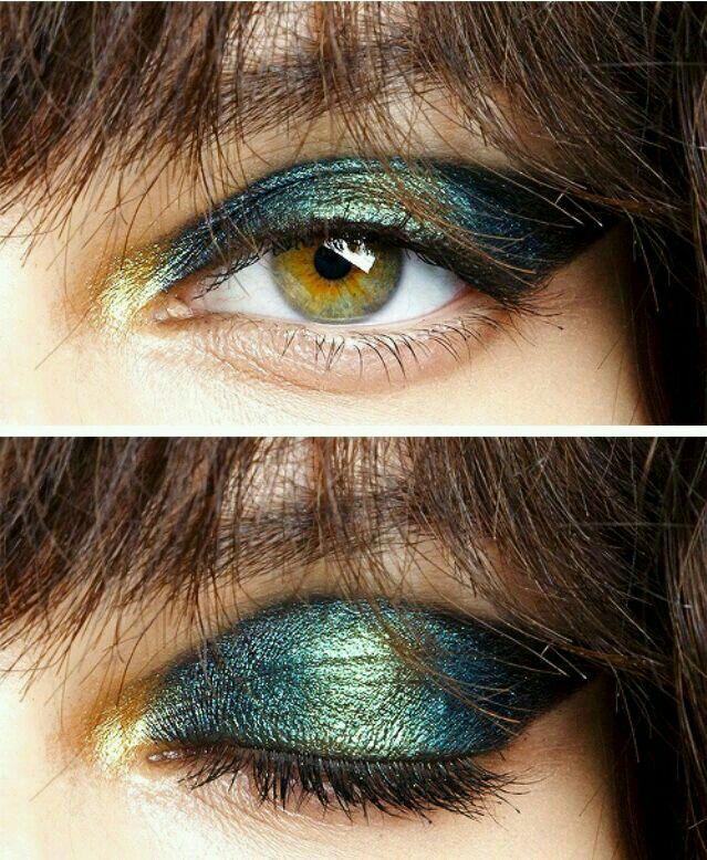 Green and gold makeup