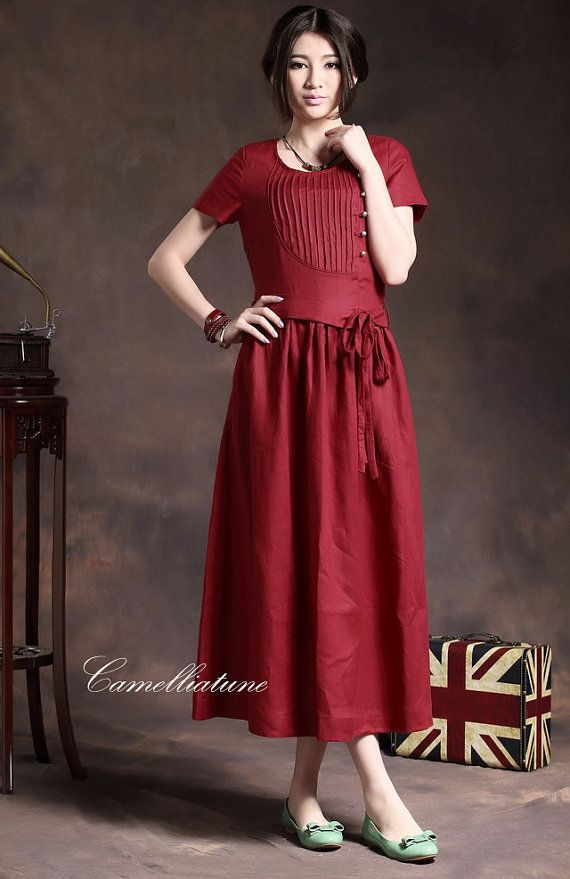 1 M / L left on Sale Long Pleated Linen Dress in by camelliatune