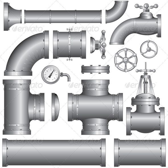 Industry Pipeline Kit #GraphicRiver Vector Collection of Detailed Construction Pieces: pipes, fittings, gate valve, faucet, ells. - vector illustration, only simply linear and radial gradients used - vector objects separated and grouped - no blends, gradient mesh used - vector available CMYK colors and ready for print - pack include version AI, CDR , EPS, JPG Keywords: background, body, drain, ells, factory, gate, illustration, iron, isolated, line, metallic, oil, seal, seamless, set…