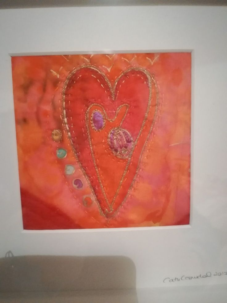 Manchester based textile artist Cath Carmichael silk painted heart embroidered by hand.