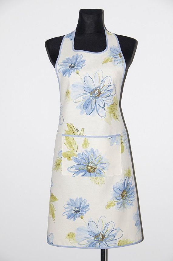 Handmade apron, kitchen apron. Blue flowers apron. Pinafore