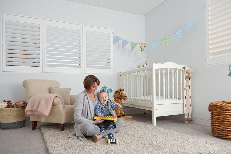 LUXAFLEX NEWSTYLE® Polyresin Shutters guarantees to not blister, peel, flake, corrode or fade. Add this child-friendly window covering into your nursery to create that contemporary look in your home. #nursery #childfriendly #luxaflex #polyresinshutters #luxaflexpolyresinshutters #childsafety