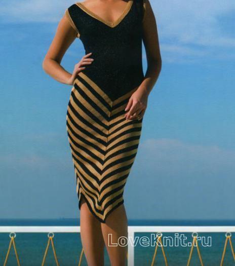 Спицами черно-белое платье с диагональными полосками фото к описанию