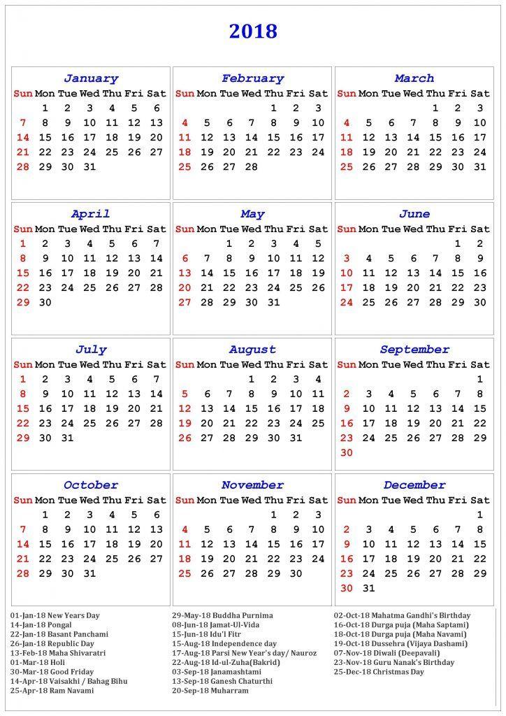 Diwali 2019 Calendar 2018 Calendar Of Holidays | November Calendar | Calendar 2019 a4