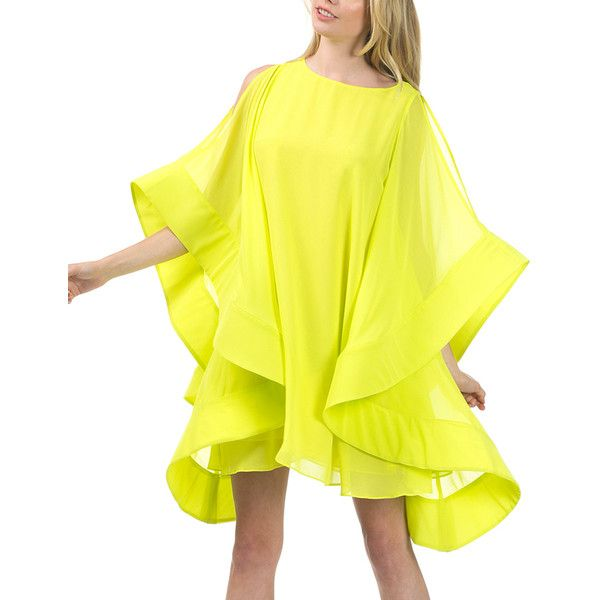 CQbyCQ Neon Yellow Ruffle Shoulder-Cutout Dolman Dress ($70) ❤ liked on Polyvore featuring dresses, cutout dresses, layered dress, yellow dresses, sleeved dresses and cut out long dress