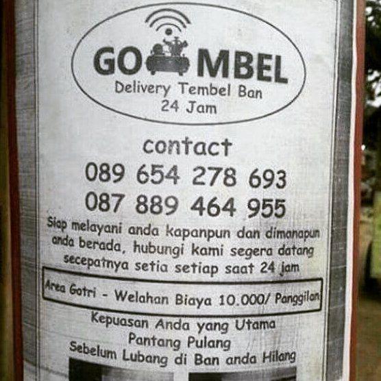 GO MBEL - Delivery Tambal Ban. Pantang pulang sebelum lubang pada ban hilang! . Area #Gotri #Kalinyamatan hingga #Welahan hanya IDR 10K.  #bisniskreatif #jasaonline #jeparapunya #visitjepara #jatenggayeng #startup #gombel