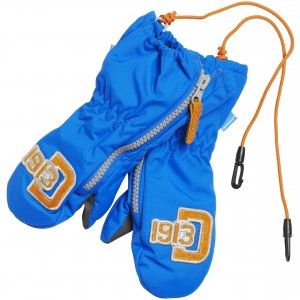 Didriksons Biggles Kids ZIP Mittens in bright blue. Keeping small children's hands warm on the water