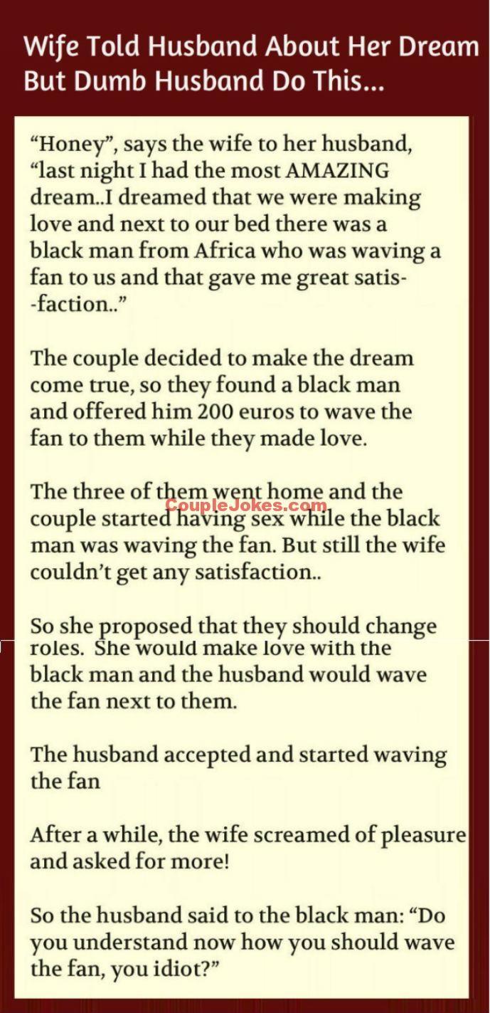 Husband Fulfilled His Wife S Dream Couple Jokes Couples Jokes Jokes Funny Quotes