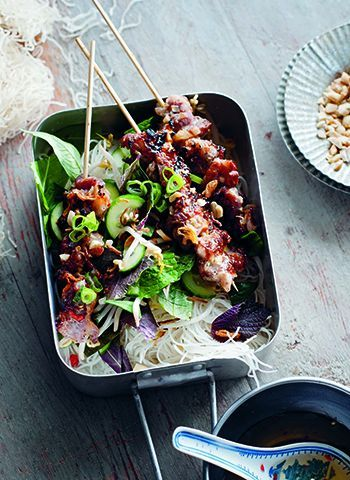 Vietnamese pork skewers with rice noodles #recipe food recipes, world food