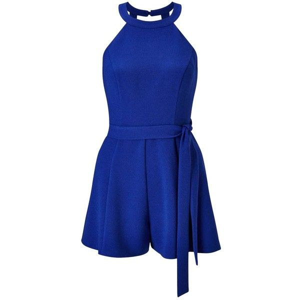Miss Selfridge Petites Blue 90's Playsuit ($61) ❤ liked on Polyvore featuring jumpsuits, rompers, blue, petite, blue romper, sleeveless rompers, blue rompers, playsuit romper and summer romper