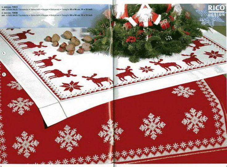 manteles de navidad (pág. 9) | Aprender manualidades es facilisimo.com