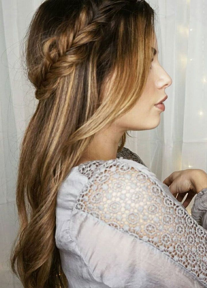 Pretty Crown Braids and hair down Wedding Hair style idea - half up half down straight hair, half up hairstyles for medium length hair