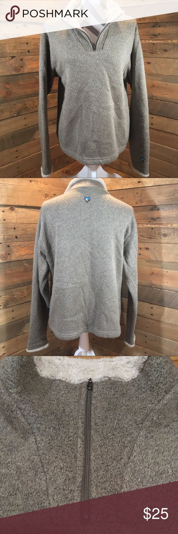 """KÜHL """"ALFPACA"""" PULLOVER SOFT FLEECE KÜHL """"ALFPACA"""" 1/4 ZIP PULLOVER SOFT FLEECE Excellent Used Condition Tan/Cream 78% Acrylic/22% Polyester CHEST: 23.5 inches LENGTH: 25 inches SLEEVE: 21 inches (see measurement guide) SIZE: X-Large ¼ Zip Pullover/Semi-Fitted-Relaxed Fit #10061 Kuhl Sweaters"""