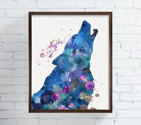 Howling Wolf Watercolor Wolf Printable Art Wolf Portrait Animal