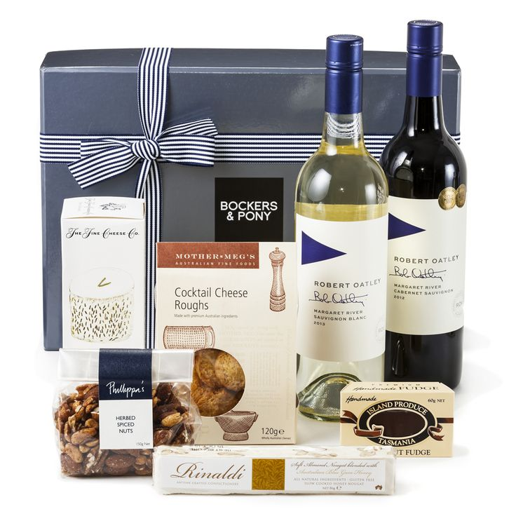 Robert Oatley Twinset | Gourmet Hampers - Bockers and Pony  The Robert Oatley twinset is the perfect gift to say thank-you for so many of life's little moments: Thanks for inviting me stay at your beach house, thanks for sharing your mums secret fruit cake recipe with me, or congratulations, you are amazing, you did such a great job. So many reasons to send this high performing thank-you style gift hamper.