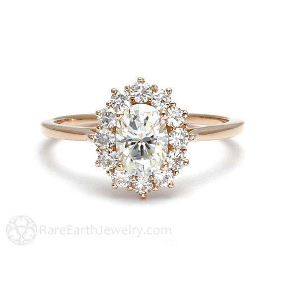 This stunning moissanite halo engagement ring: