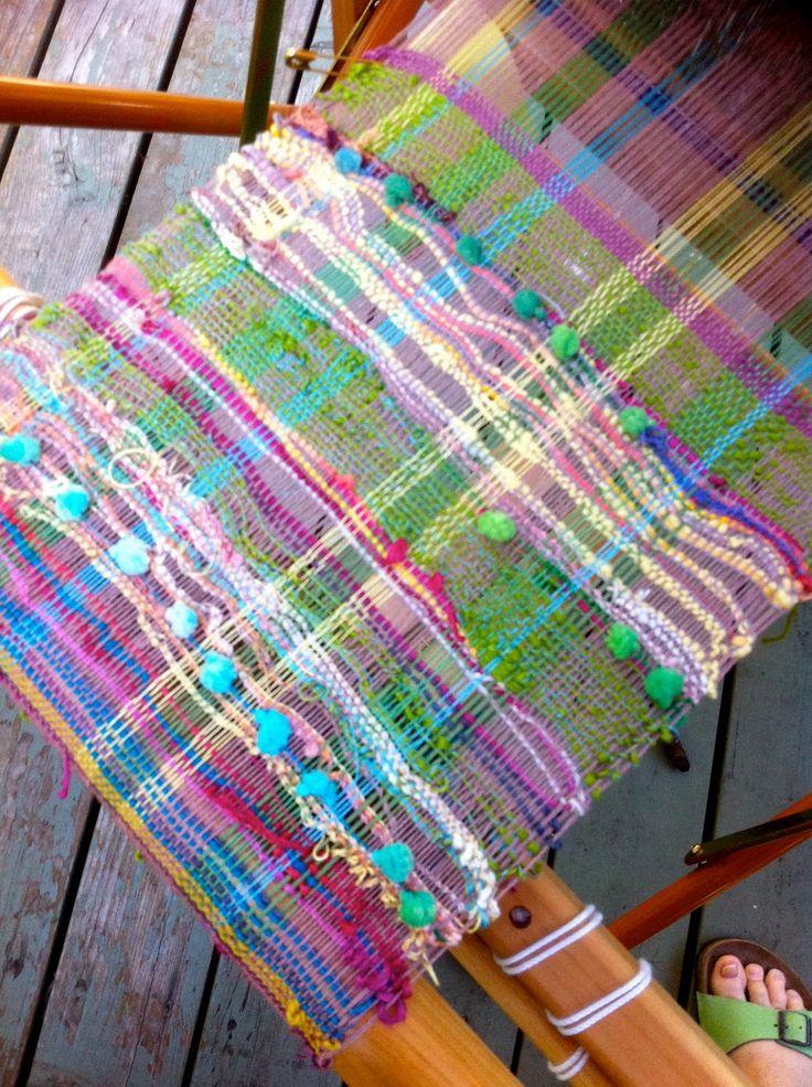 Colorful Saori weaving.