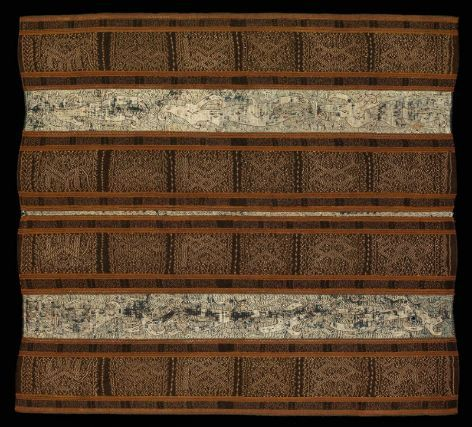 Woman's ceremonial lower body wrapper (tapis)      Indonesian (Sumatran, Paminggir), Dutch colonial period, 19th century       South Sumatra, Lampong region, Indonesia  Dimensions      Overall: 129 x 119cm (50 13/16 x 46 7/8in.)  Medium or Technique      Cotton, natural dyes, plain-weave ground, warp yarn-resist dyed (ikat) and embroidered with silk  Classification      Costumes   Accession Number      1980.281