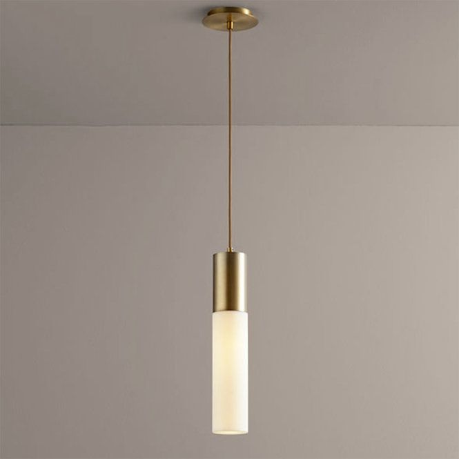 """Minimalist contemporary style abounds with the soft white linear acrylic tube and thick metal band on this pendant. An elegant choice for a modern home. ETL damp rated for interior locations. 5"""" canopy and 10' of braided cord included. 1 x 7 watt max GU10 LED only (lamp not included). (18""""H x 3.5""""W)"""